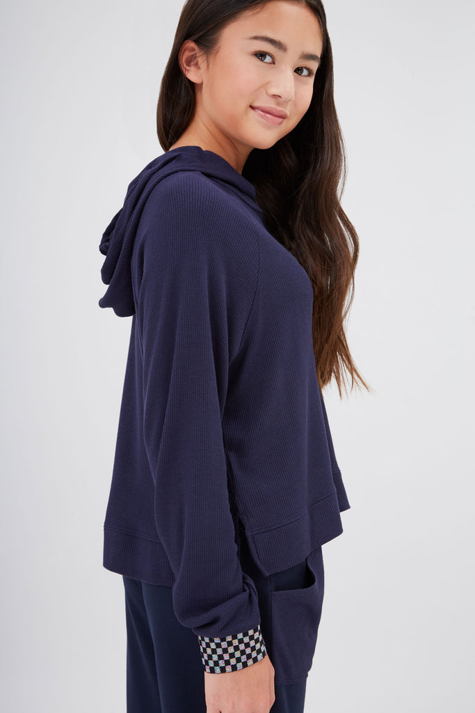 Girls Shimmer Trim Waffle Hoodie in Navy