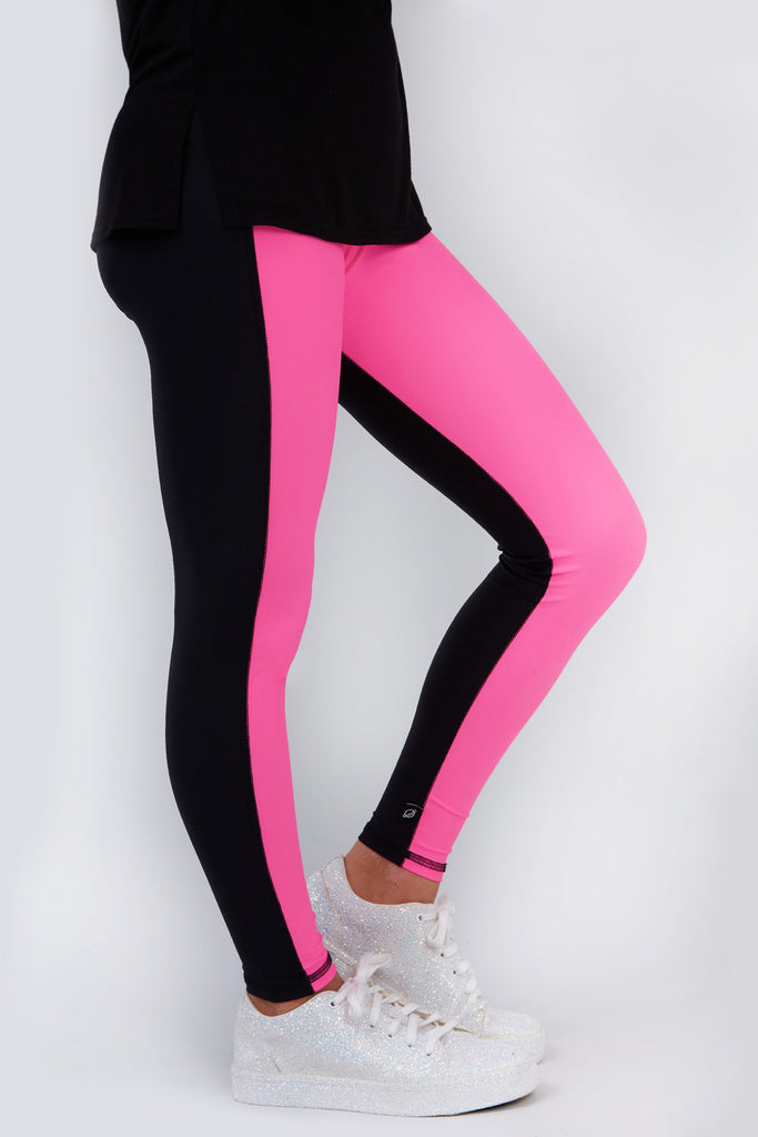 Girls Hot Pink Colorblock Leggings