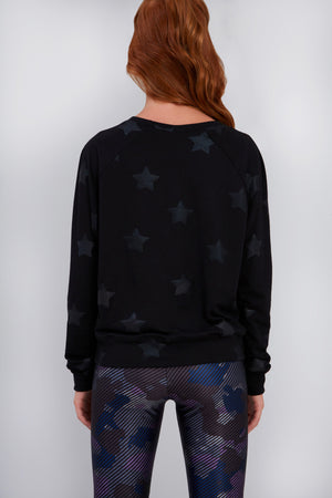 Girls Black Star Foil Sweatshirt