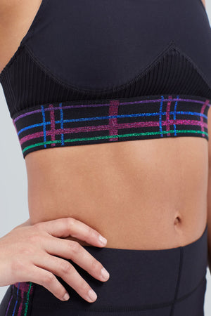 Black sports bra with plaid band