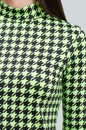 Neon and black, dogs tooth pattern, long sleeve mockneck