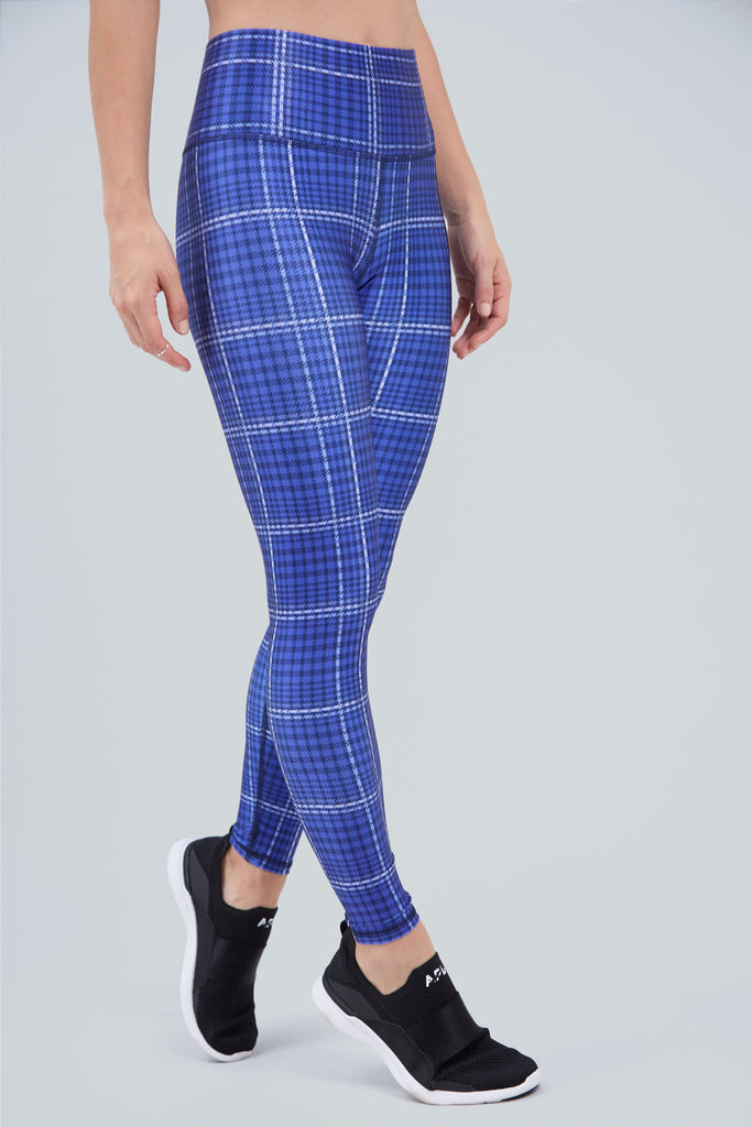 Bold, blue plaid, full length legging