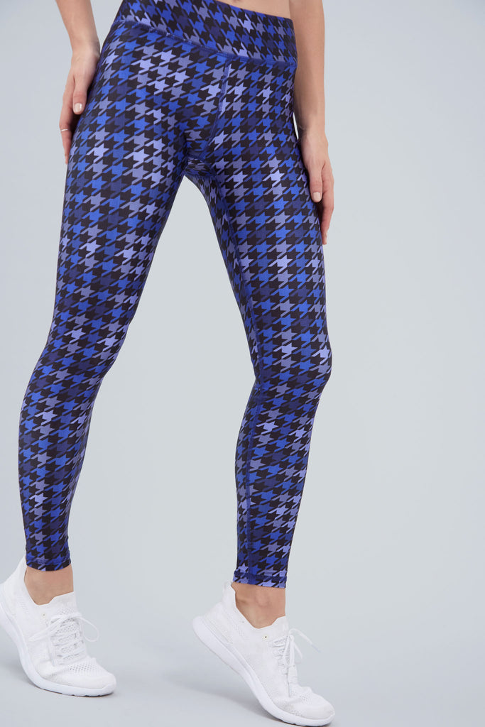 Full length leggings, with shades of blue dogs tooth pattern