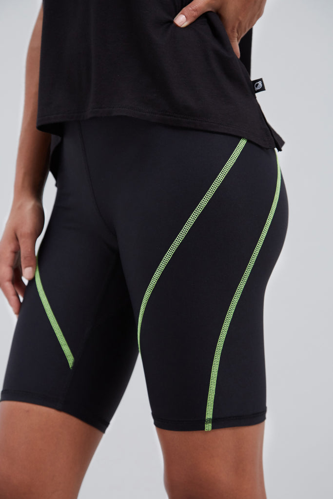 Black biker short with neon yellow stitching