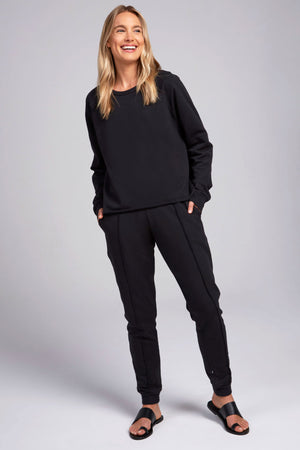 Black Cotton Fleece Pullover by Terez