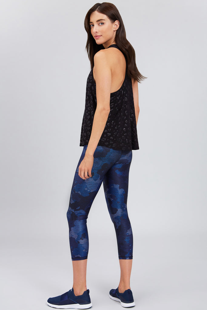 Cropped, high rise navy legging with striped camo print