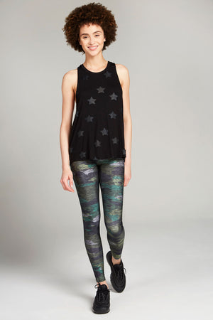 Full length, high rise, heathered camo gray legging