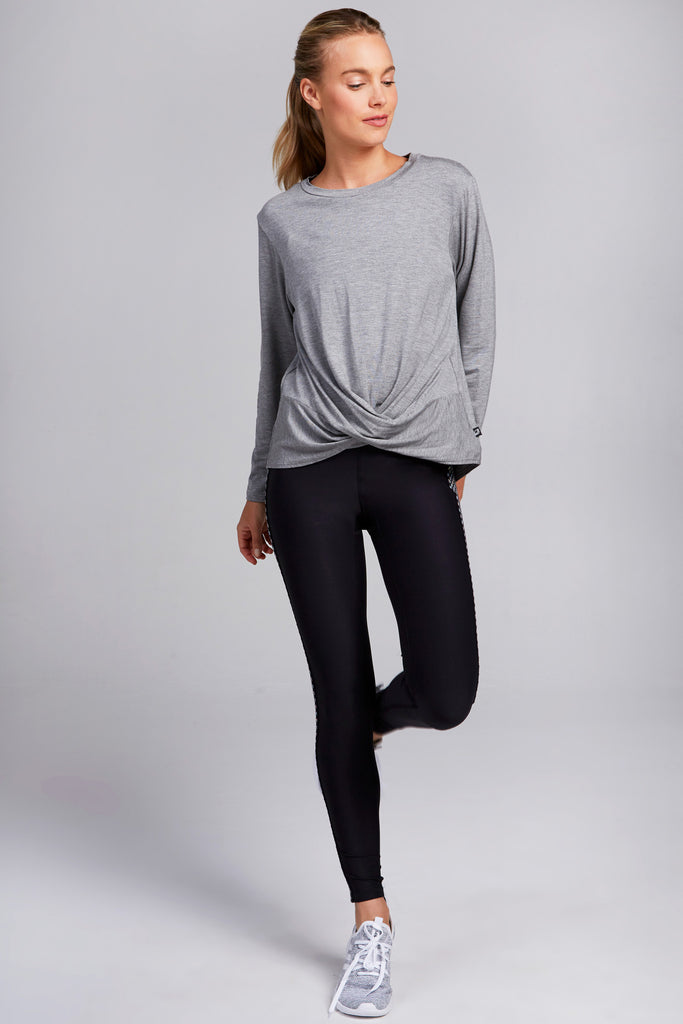 Cross Front Long Sleeve in Gray
