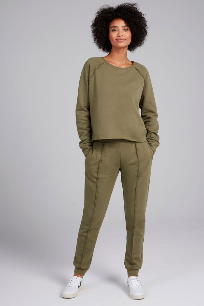 Olive Cotton Fleece Pullover by Terez