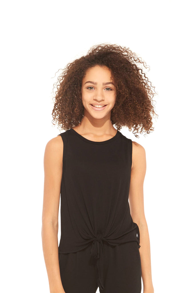 Girls Black Tie Front Tank by Terez