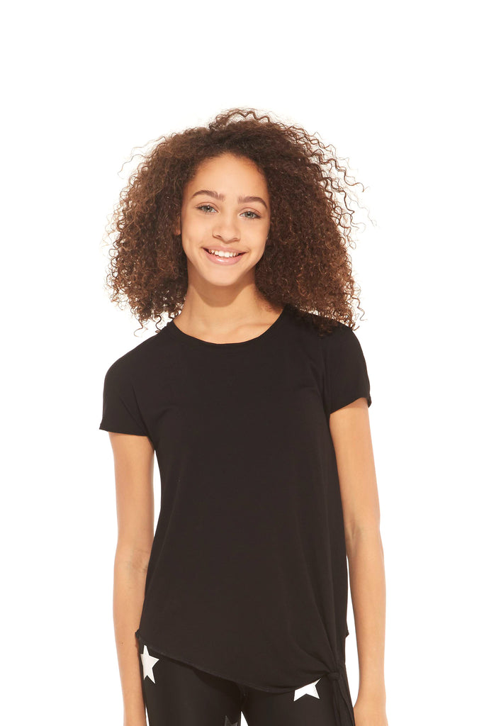 Girls Black Tie Front T-Shirt by Terez