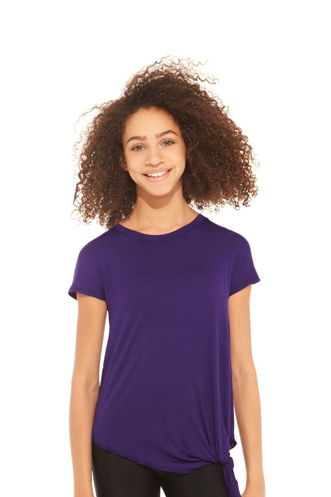 Girls Eggplant Tie Front T-Shirt by Terez