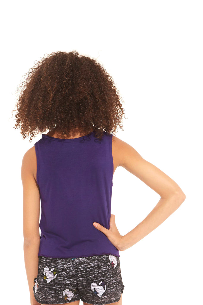 Girls Eggplant Tie Front Tank by Terez