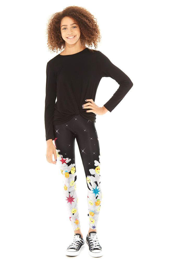 Girls Emoji Holiday Tree Leggings by Terez