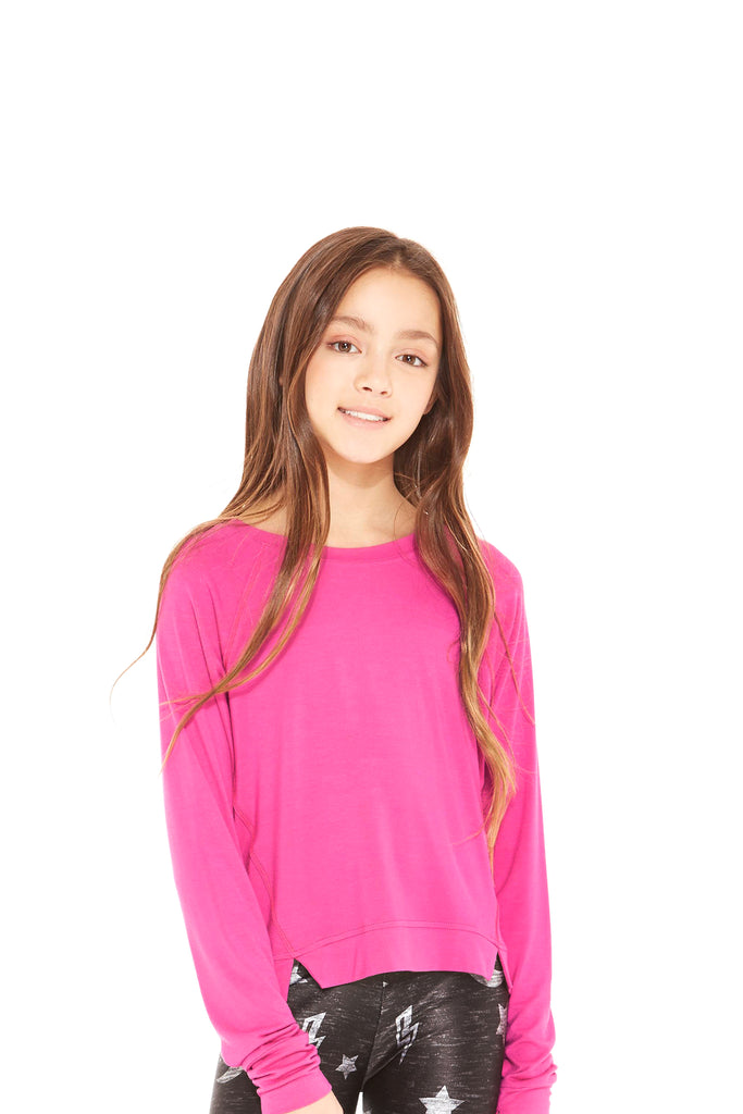 Girls Fuchsia Slash Crewneck by Terez