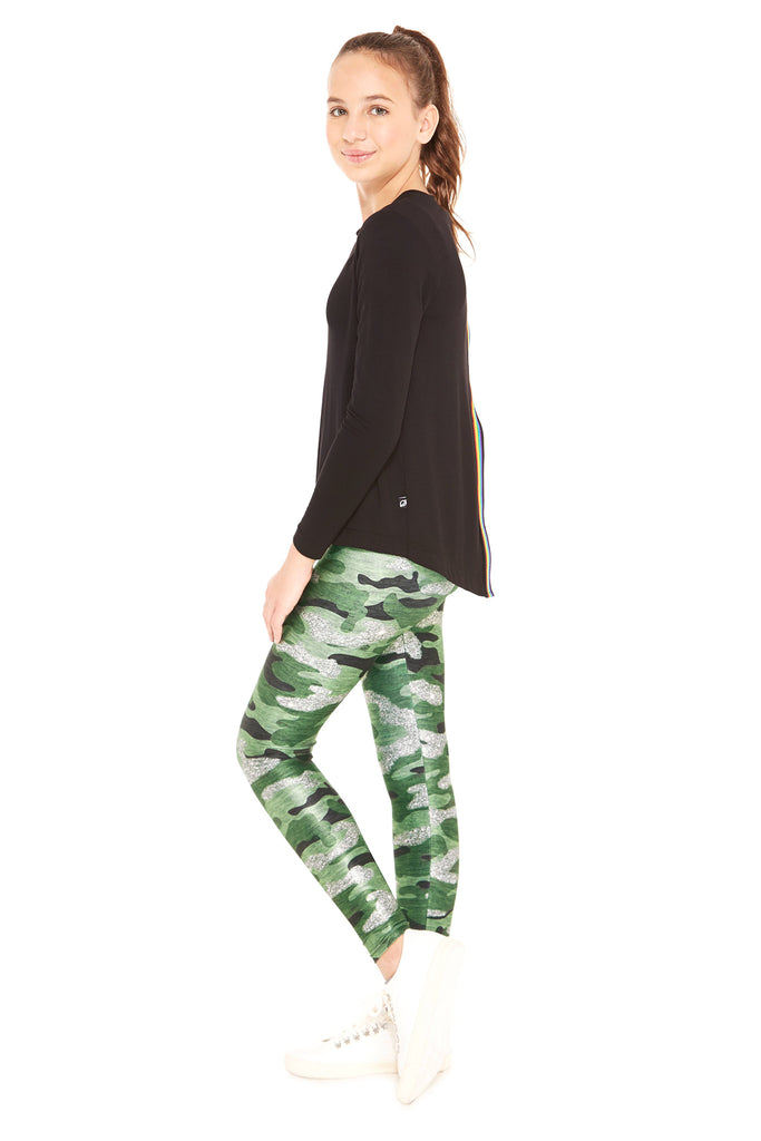 Girls Glitter Camo Leggings by Terez