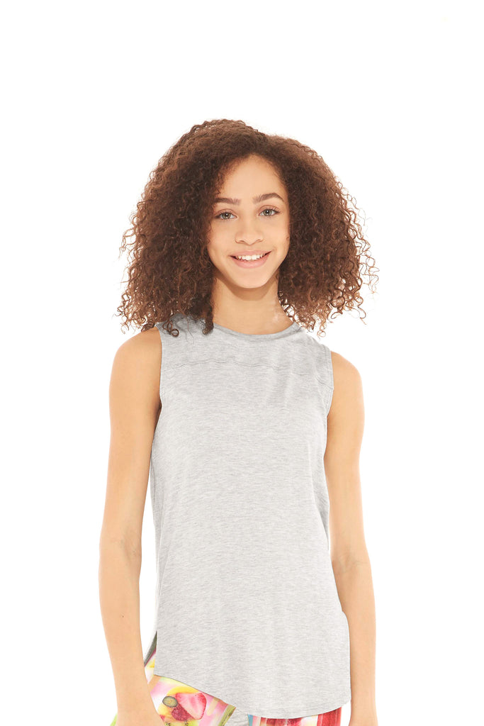 Girls Heather Gray Open Back Tank by Terez