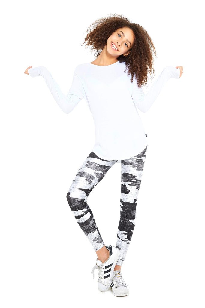 Girls Heathered Gray Camo Leggings by Terez