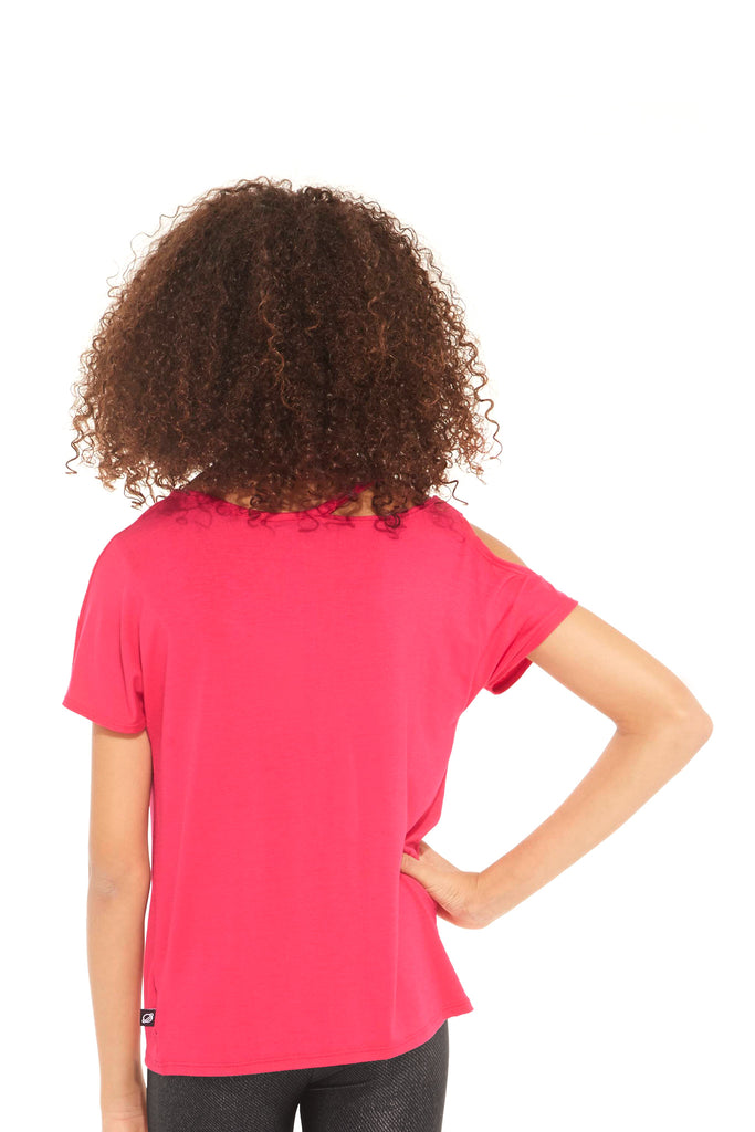 Girls Hot Pink Cut Out Cold Shoulder Tee by Terez