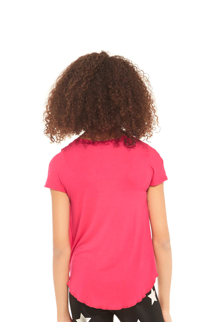 Girls Hot Pink Tie Front T-Shirt by Terez