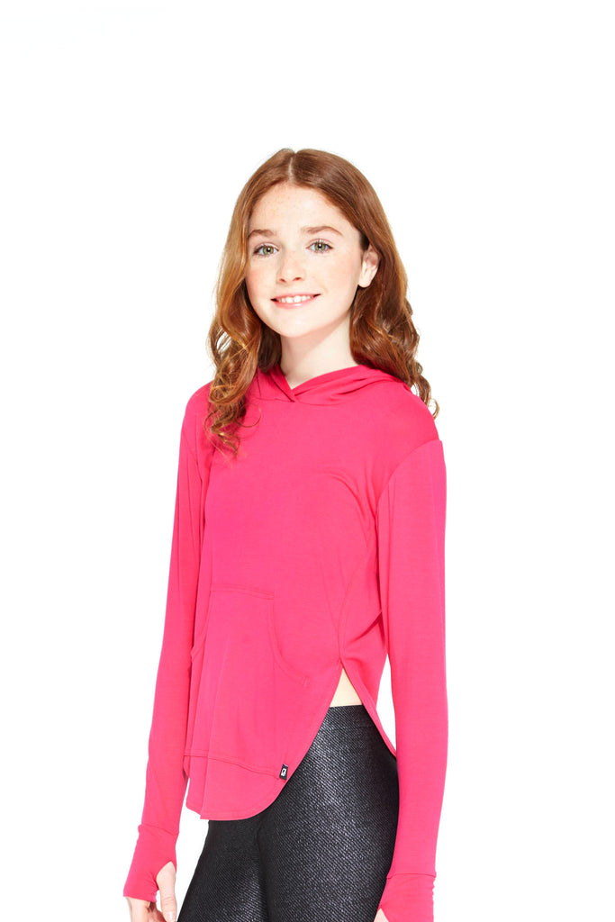 Girls Hot Pink Hooded Long Sleeve by Terez