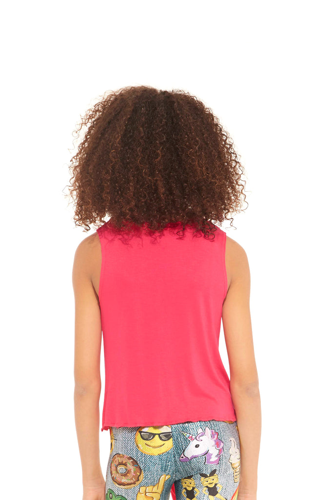 Girls Hot Pink Tie Front Tank by Terez