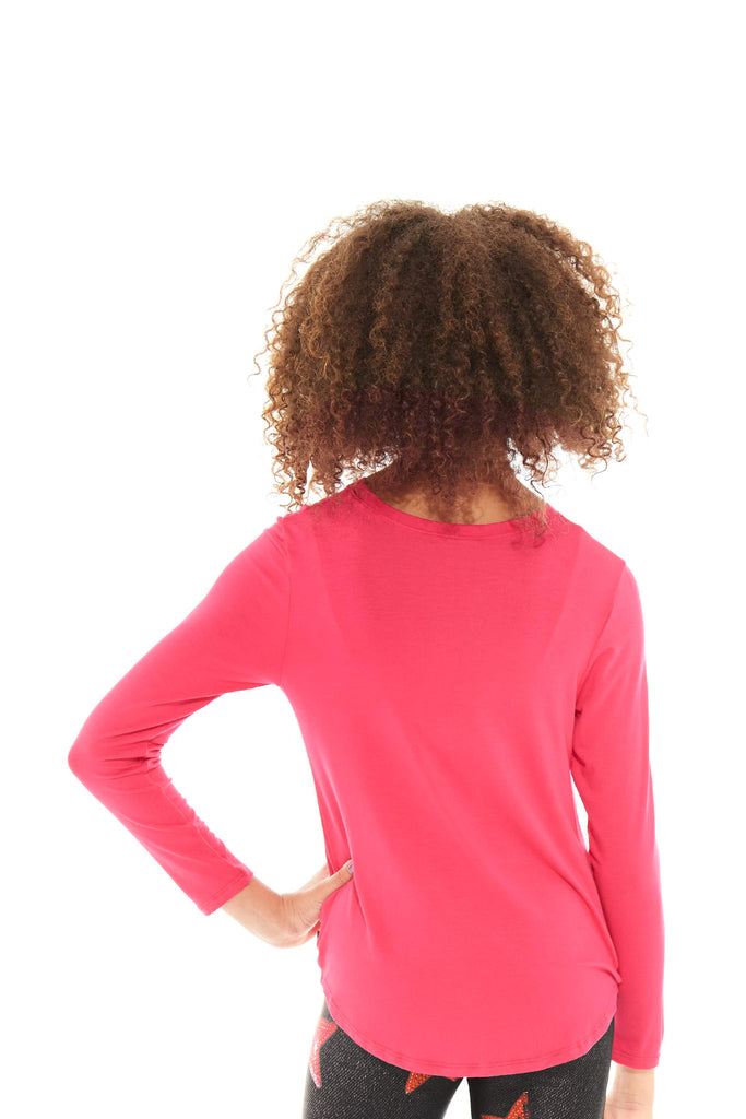 Girls Hot Pink Twist Front Long Sleeve by Terez