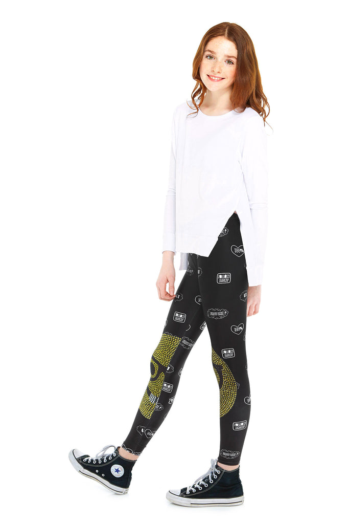 Girls Limited Edition Crystal Emoji Nerd Leggings by Terez