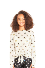 Girls The Many Faces of Mickey Mouse Long Sleeve Tie Front by Terez