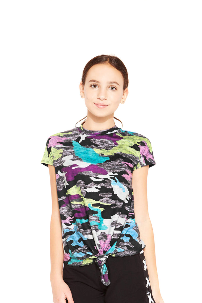 Girls Multi Camo Side Tie Tee by Terez