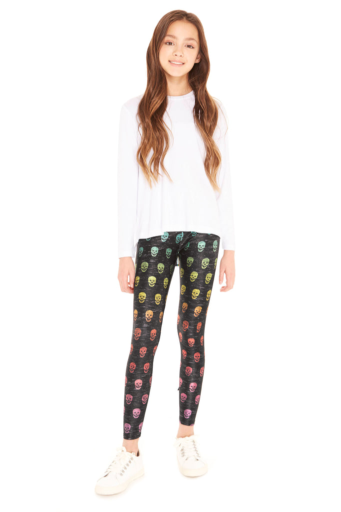 Girls Rainbow Heathered Skull Leggings by Terez