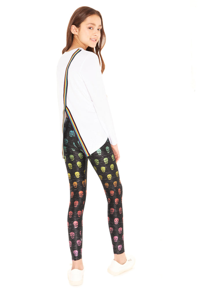 Girls Heathered Rainbow Skull Leggings by Terez