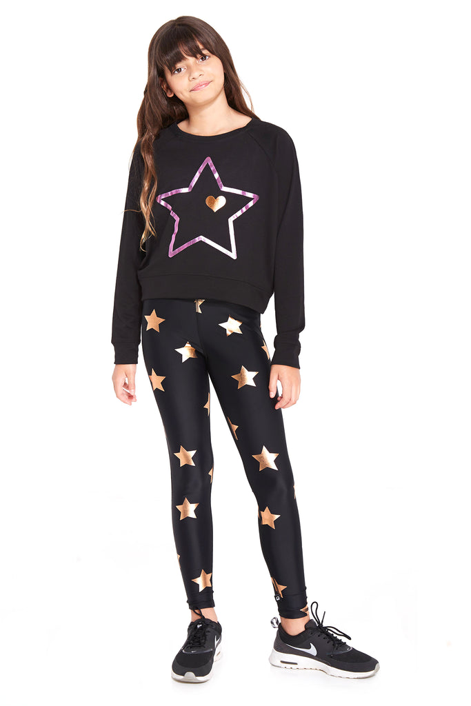 Girls Rose Gold Stars Foil Leggings by Terez