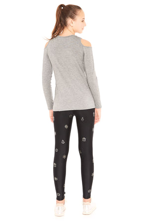 Girls Silver Holiday Icons Foil Leggings by Terez