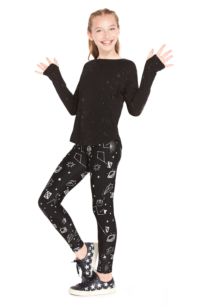 Girls Star Wars Rebel Galaxy Hologram Foil Leggings by Terez