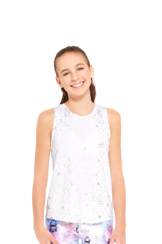 Girls Star Wars Silver Foil Tank by Terez