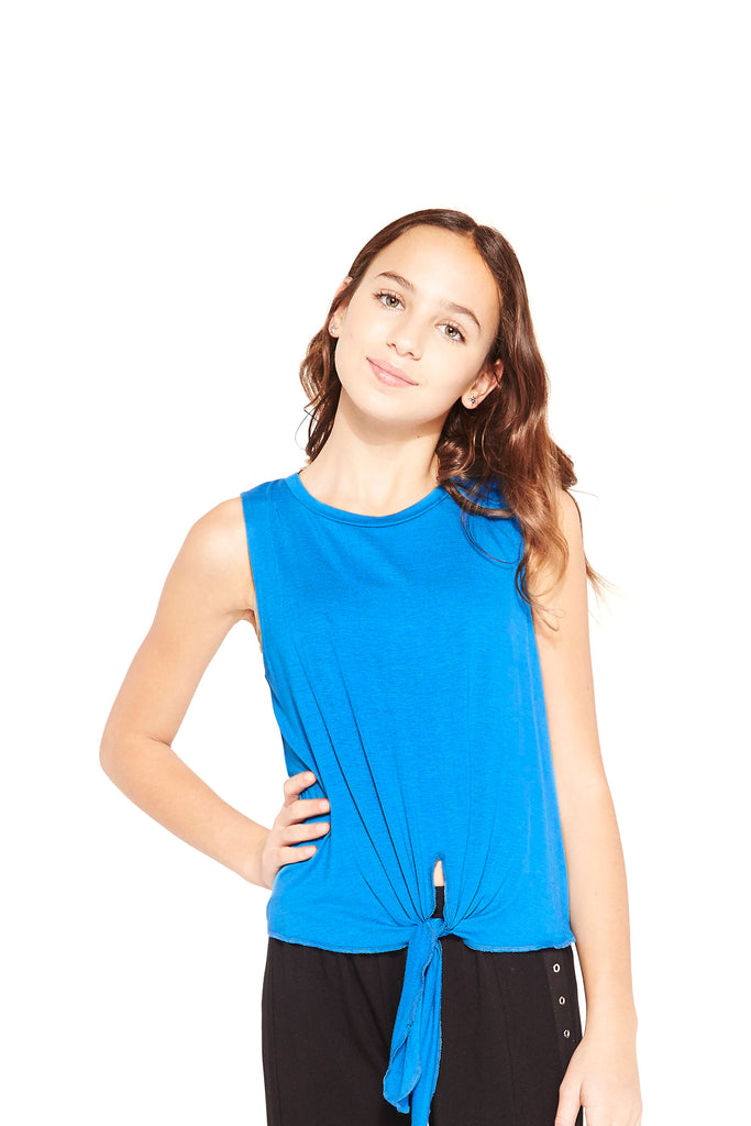 Girls Turquoise Tie Front Tank by Terez