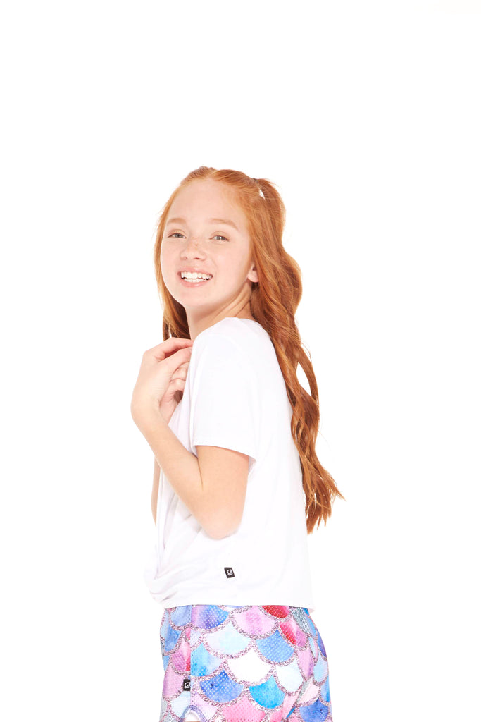 Girls White Cross Front Tee