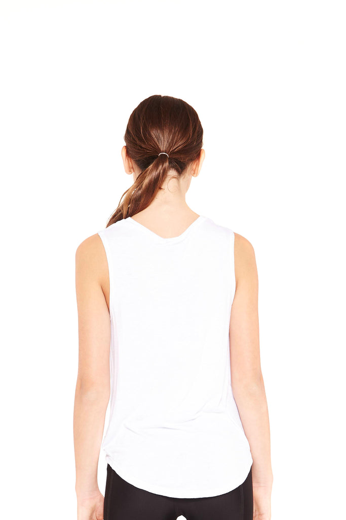 Girls White Twist Front Tank by Terez