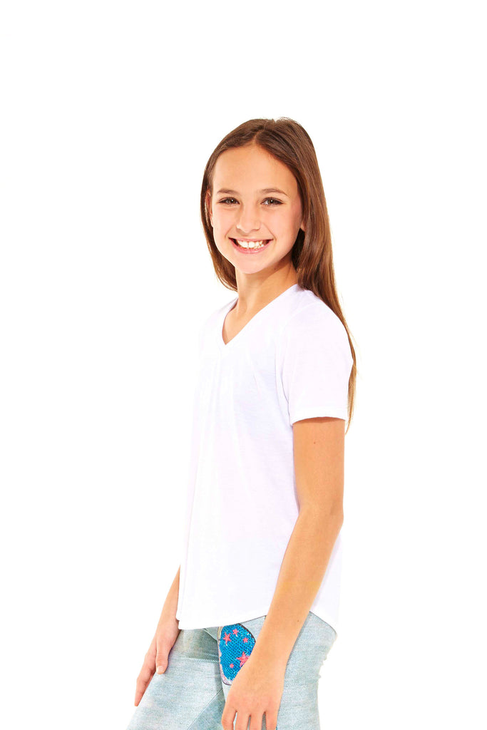 Girls White V-Neck Tee by Terez