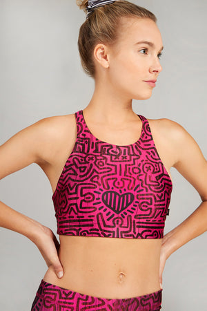 Keith Haring Hearts In Harmony Reversible Bra by Terez