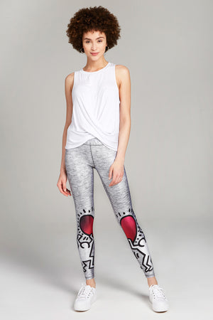 Keith Haring Uplifted Heart Tall Band Leggings by Terez