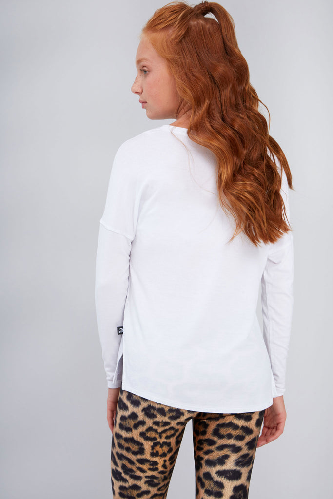 Girls White V Long Sleeve