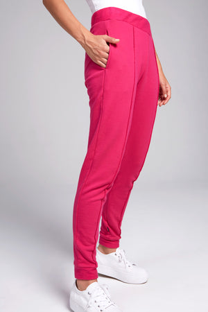 Magenta jogger with piping down the middle of each leg