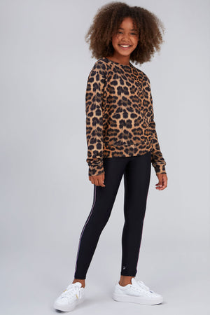 Girls Leopard Goals Crewneck
