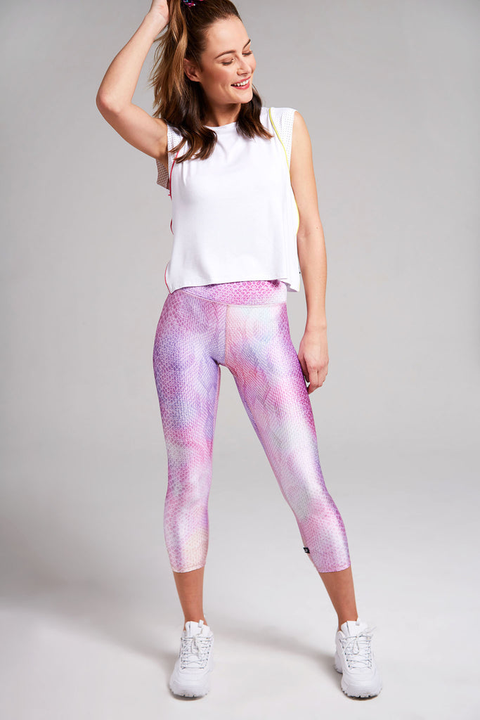 Pink Python Tall Band Capri Leggings by Terez