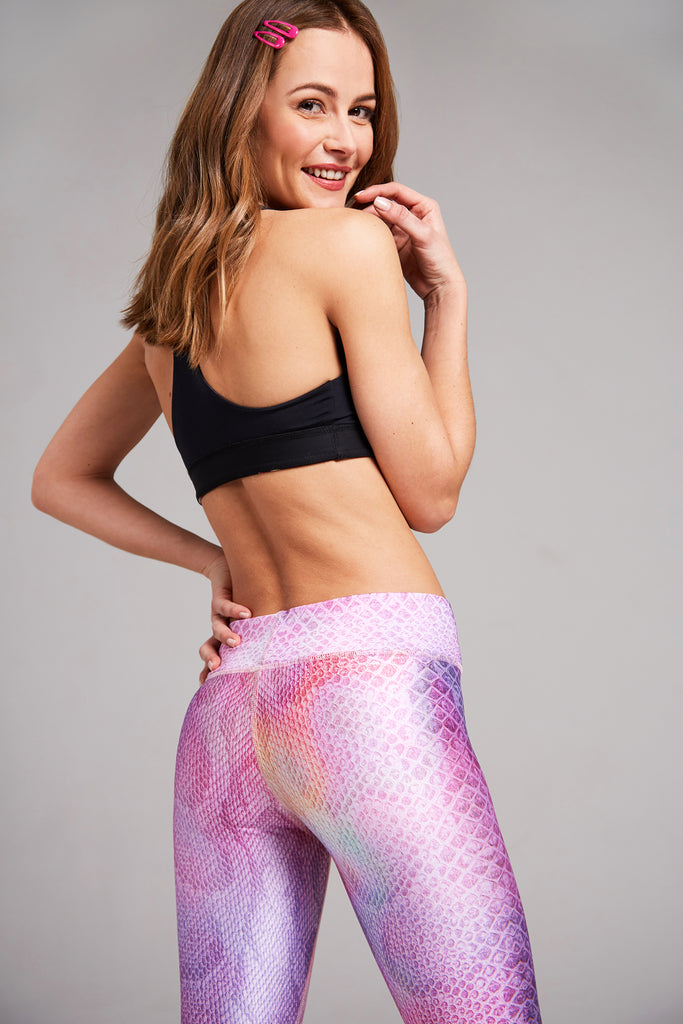 Full length, high rise legging with pink snakeskin pattern with hints of rainbow