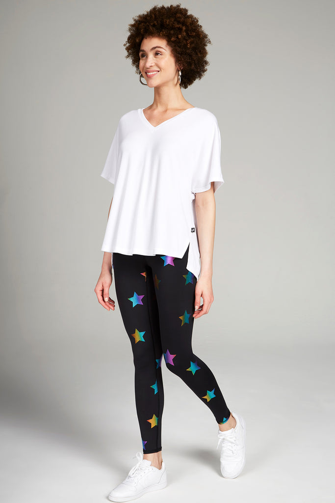 Rainbow Stars Foil Tall Band Leggings by Terez
