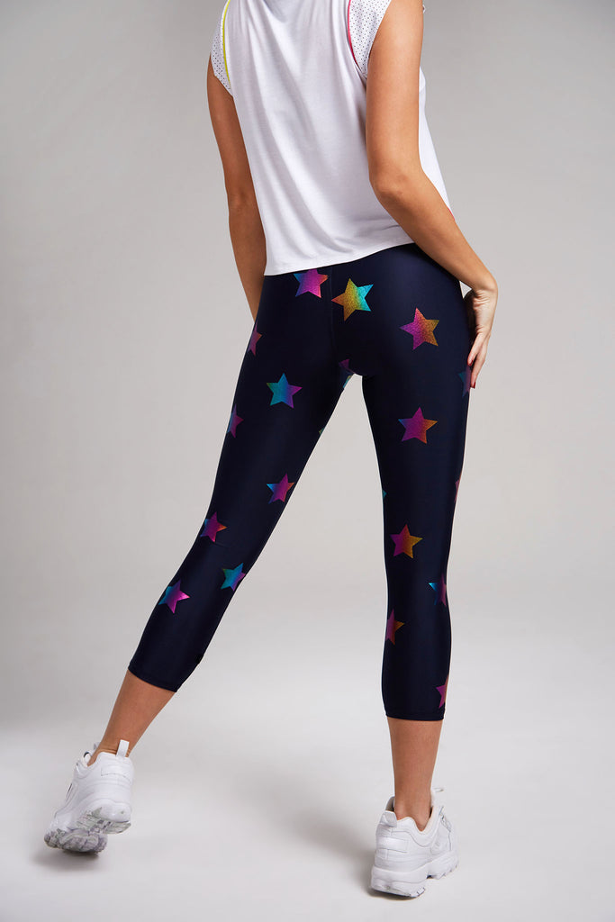 Navy Rainbow Stars Foil Tall Band Capri Leggings by Terez