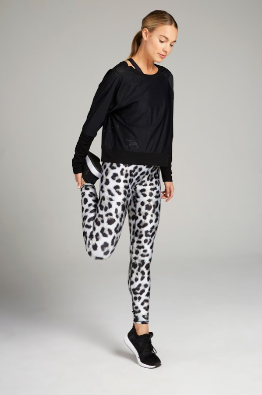 White and black leopard print, high rise, full length legging